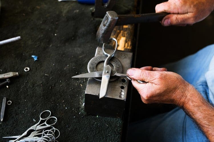 Ernest Wright scissors in production