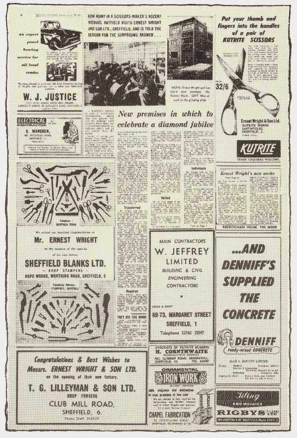 Original advert for the Ernest Wright Kutrite scissor in a newspaper