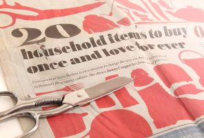 The Daily Telegraph Saturday Suppliment with pair of Ernest Wright Turton Scissors